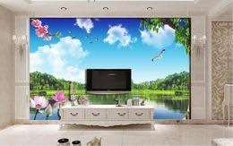 luxus tapete weiß Rabatt tapete Customized luxury gold wallpaper Blauer Himmel und weiße Wolken Naturlandschaft Bäume 3D Wandbilder