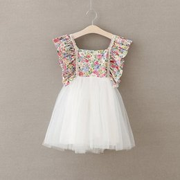 Wholesale Girls Tulle Dresses Wholesale - Dresses Rustic Floral Baby Girls Dress Flare Backless Bow Tutu Girls Clothing Beach Girls Party Dress Outfit