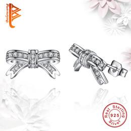 Wholesale Cute Heart Earrings - BELAWANG Women 925 Sterling Silver Cute Bow Knot Stud Earrings Sparkling Clear Cubic Zirconia Earring Classic Jewelry Wholesale 5 Pairs
