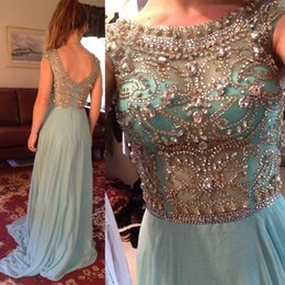Wholesale Turquoise Open Back Prom Dress - Newest Scoop open back bling Evening dress mint green Chiffon Sexy Backless Prom Dresses 2017 turquoise Sequins beads Celebrity Dresses 2y