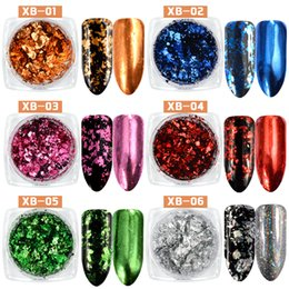 Wholesale powdered aluminum - New 0.2g Nail Glitters Aluminum Flakes Sequins Magic Mirror Powder Gold Silver Holo Dust Irregular Pigment Nails Decoration 2017