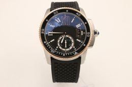 Wholesale Gold Mens Divers Watch - New Mens Watces Automatic 6 DIVER Two Tone Rose Gold Rubber Strap CALIBRE DIVER'S Watch Mechanical Men Wristwatches