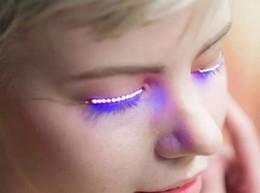 Wholesale Led Eyes Halloween - 2017 DHL LED eyelashes f.lashes lamp Eyelashes Luminous Eyes Party Nightclub Fashion flashes Halloween LED Strips False Eyelash Sticker
