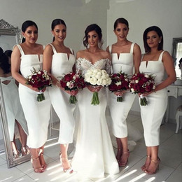 Wholesale Wedding Dresses Ruffles Bottom - Modest White Tea-Length Bridesmaid Dresses Sexy Spaghetti-Straps Sleeveless Backless Wedding Party Gowns Stylish Bottom Split Evening Dress
