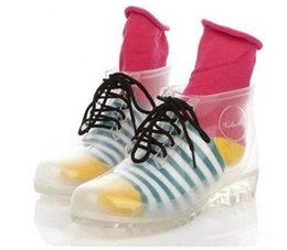 Wholesale Clear Rain Boots Womens - 2016 In Stock PVC Transparent Womens Clear Flats Heels Water Shoes Female Rainboot Style Martin Rain Boots