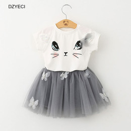 Wholesale Casual Mini Skirt Outfits - DHL Fashion Baby Girl Cat Mini Dress Set Clothes Summer Kid Cartoon T Shirt Top+Bow Lace Skirt 2pcs Outfit Costume Children Suit