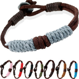 acrylic bezel Promo Codes - Free shipping Vintage Knit Blonde Couple Bracelet Leather Bracelet FB393 mix order 20 pieces a lot Slap & Snap Bracelets