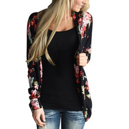 Wholesale Loose Top Open Sleeves - Wholesale- Womens Loose Outwear Boho Floral Print Long Sleeve Wrap Cardigans Casual Slim Coat Tops