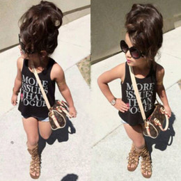 Wholesale Girls Black Denim Vest - Fashion Kids Clothing Girls Cotton Black Letter Vest +Denim Shorts Sets Children Summer Clothes 2 pcs Suit New Arrival