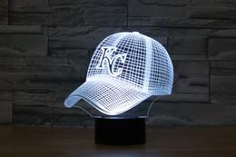 Wholesale Kc Led - Free Shipping Baseball cap 3D Lamp KC Royals Night Light Acrylic Flat Household Lights Color Changeable Veilleuses LED Lampara Infantil