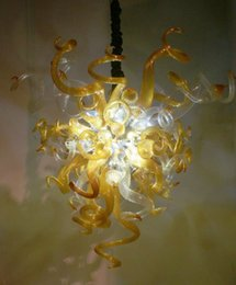 Wholesale Chandeliers Clear Black - AC LED Light Source Amber and White Clear Glass Chandeliers 100% Hand Blown Glass Modern Cheap Chihuly Chandeliers