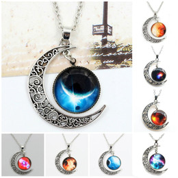 Wholesale Half Moon Pendant Necklace - Chokers Necklace Swarovski Starry Outer Space Universe Gemstone Silver Chain Moon Necklaces Pendant Galaxy Half Crescen Glass Moon Necklace