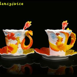 Wholesale Phoenix Ceramics - Enamel Dragon Phoenix Coffee Mugs Gift Packing Creative Porcelain Lover Drinkware Mugs Tea Set Ceramic Gifts Cups And Saucers