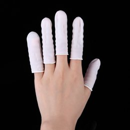Wholesale Static Finger - Wholesale- 260 pcs Finger Cots Nail Art Latex Rubber Protective Fingers Small Practical Disposable Gloves Anti Static Nail finger sets