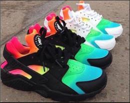 Wholesale Cheap Rainbow Shoes - Cheap Air Huarache Shoes Rainbow Huaraches Shoes Ultra Breathe Men Women Huraches Multicolor Shoes Sport Huarache Running Sneakers US 5-12