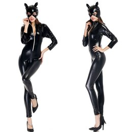 Wholesale Ladies Leather Catsuit - Halloween Costumes Adult Women Deluxe Leather Rider Motorcycle Jacket Cat Lady Catwoman Costume Catsuit Jumpsuit