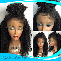 Wholesale Heat Friendly Lace Wigs - Lace Front Wig Afro Kinky Curly Wigs For Black Women With Baby Hair Janpanese Fiber Realistic Looking Glueless Synthetic Hair Heat Friendly