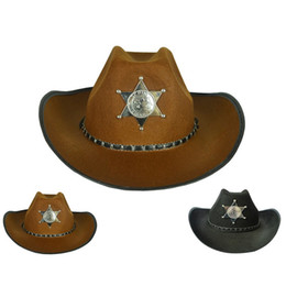 Wholesale Antique Christmas - Halloween CosPlay hats Show Props Antique Knight Cap Retro American Western Cowboy Hat Five-Pointed Star Hat Women and Man Bowler Fedora Cap