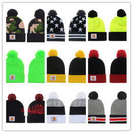 Wholesale Cc Cotton - 2018 Unisex CC Trendy Hats Winter Knitted Fur Poms Beanie Label Fedora Luxury Cable Slouchy Skull Caps Fashion Leisure Beanie Outdoor Hats