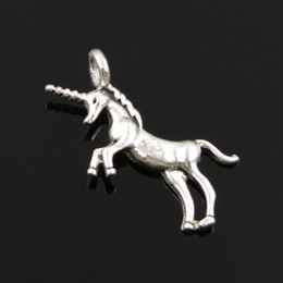 Wholesale Craft Horses - Wholesale- Charms unicorn horse 15pcs 35*15mm Tibetan Silver Plated Pendants Antique Jewelry Making DIY Handmade Craft