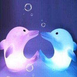 Wholesale Small Color Changing Led Lights - Dolphin Night Light LED Lighted Toys LED Night Light Colorful Light-emitting Dolphins Creative Small Night Light Automatic Color Change LED