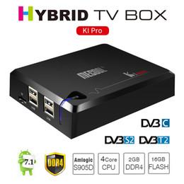 Wholesale Set Top Box Dvb T2 - MECOOL KI PRO DDR4 Android 7.1 TV Box DVB DVB-S2 T2 Amlogic S905D Quad 2G+16G Set Top Box CCCAM NEWCAMD 2.4G 5G WiFi H.265 HD UHD 4K K1 PRO