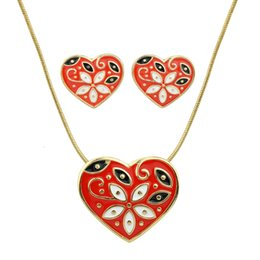 Wholesale Olive Pendant - Jewelry Sets Gold-Color Chain with Candy Color Enamel Flower Pattern Heart Pendant Necklace and Stud Earrings