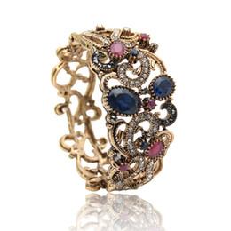 Wholesale Gold Jewelry Chain Roll - Vintage Turkish Flower Bangles Women Jewelry Retro Gold Plat Hollow Roll Grass Pattern Bracelets Luxuries Ethnic Crystal Bijoux