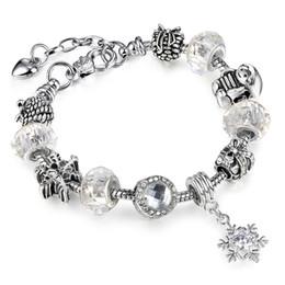 Canada Nouveau Européen Permettre Argent Plaqué Perle Cristal Charme Bracelet Avec Blanc Perles De Verre De Murano Charme DIY Bijoux AA97 Offre