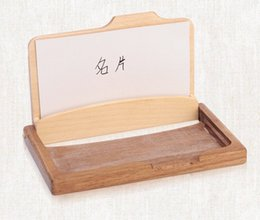 Wholesale Wholesale Wood Business Cards - Fashion Men Women's Unisex Wooden Business Name ID Credit Card Holder Case Wood Card Storage Box Home Office Supplies LLFA