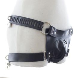 Wholesale Thong Restraints - Male Locking Waist Harness Chastity Belt Fetish Underwear,Leather Thong Cock Bondage Restraint,Sex Toys For Men