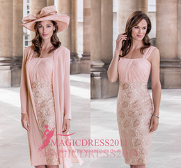 Wholesale Sheath Column Square Chiffon Lace - 2016 Condici Pink Lace Mother Of The Bride Gowns Sheath Square knee Length Evening Gown For Wedding Mother Groom Dresses With Short Sleeves