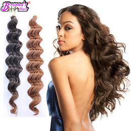 Wholesale Deep Wave Synthetic Weave - 18inch Freetress deep wave synthetic crochet braids Big wave braiding hair extension weave bundles two tone blonde natrual wave wefts