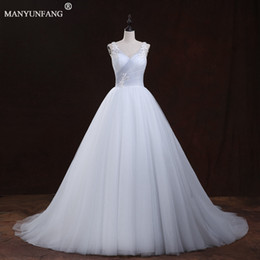 Wholesale Wedding Dress Draped Empire - Fashion Elegant Lace Long Empire Wedding Dresses With Buttons 2017 New Arrivals Sexy Sheer Straps High Quality Sleeveless Bridal Gowns