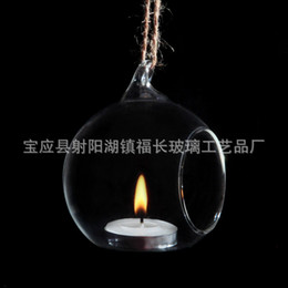 Wholesale Wall Match Holder - Hanging Type Spherical Glass Candle Holder For Wedding Home Furnishing Decoration Electronic Candle Optional Glass Candlestick 3fc2