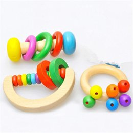 Wholesale Kids Wooden Musical Rattle - Educational Wooden Bell Rattle Handbell Musical Christmas Toy for Kid Toddlers Baby Infant 3 different Types lovely
