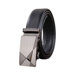 Wholesale Buckle Slides - Men's Leather Ratchet Dress Belt with Automatic Buckle Soft Facial Casual and Stylish Sliding Buckle Belt