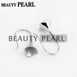 Wholesale Bulk Caps - Bulk of 3 Pairs 925 Sterling Silver Jewellery Findings Earwire Flat Fishhook with Bead Cap for Half Drilled Pearls