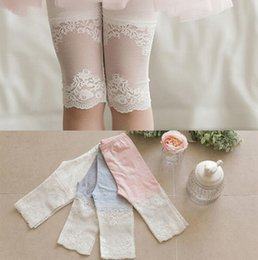 Wholesale White Tights Children - Summer Girls Lace Patched Cotton Legging children lace jacquard Princess Cropped Trousers Dress Foot Wear leggings T0868