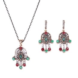 Wholesale Vintage Wedding Costume Jewelry - Vintage Hamsa Hand Jewelry Sets Multicolor Crystal Resin Costume Necklace Earring Set For Women Accessories JND0037