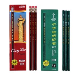 Wholesale Long Wood Box - Famous Chunghua Brand Since 1935 HB Pencil Green Pencil Red Rubber Eco-friendly Student Writing drawing Pencil 12pcs box 12 Lots Free ship