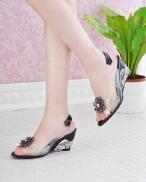 Wholesale High Heeled Jelly Shoes - 2017 Hot Sale Crystal Wedges Transparent Women high-heeled Sandals Plus Size 34-43 rhinestone Peep Toe Jelly Shoes