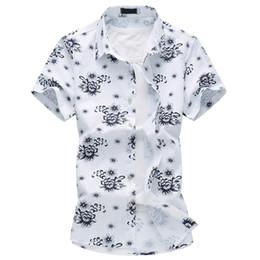 Wholesale Mens Linen Shirts - 2017 New Summer Chinese Style Mens Shirt Casual Short Sleeve Floral Shirt Men Slim Fit High Quality Slim Mens Linen Shirt 6XL