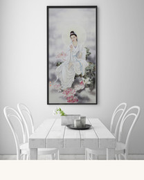 Wholesale Blessing Fashion - Single Unframed Guanyin and Lotus Bless Holy Painting On Canvas Giclee Wall Art Painting Art Picture For Home Decorr