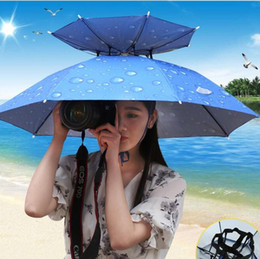 Wholesale fabric uv protection - The Umbrella Cap Double Deck Folding Bumbershoot Fish Light Rain Hat Umbrellas Sunscreen UV Protection Multicolor Easy to Carry 16 15yl H1 R