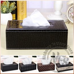 Wholesale Luxury Cover Seats - Wholesale-Luxury Leather Tissue Box 6 Designs With 2 Sizes For Your Choice Home Decor For Living Room Meeting Room Toliet Car Tissue Cover