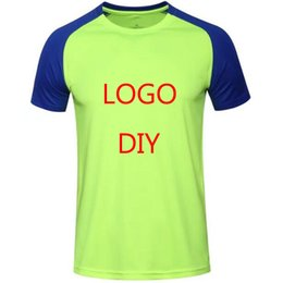 Wholesale Logos Clothes - 2017 customize Logo Men's Short Sleeve Sport Running Shirt Quick Dry Breathable Soccer Training TShirt Men Gym Clothing Sportswear