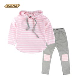 Wholesale Classic Baby Clothes Sets - Wholesale- Classic Striped Baby Girl Clothing Set Spring Retail 2Pcs Hooded Sweatshirts+Leggings Pants Girls Clothes Sets Casual Kids Suits