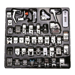 Wholesale Sewing Presser Foot Kits - 42 Pcs Domestic Sewing Machine Braiding Blind Stitch Darning Presser Foot Feet Kit Set With Box Snap On For Brother Singer Set