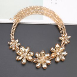 Wholesale Korean Woven Jewelry - Korean version of exaggerated jewelry short paragraph decorative necklace crystal flowers hand-woven chain-lock chain female accessories pen